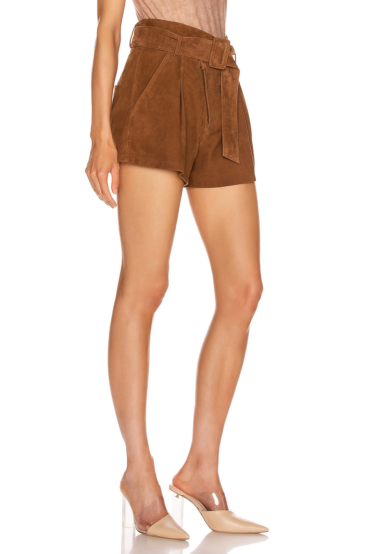 Image 2 of Marissa Webb Levi Suede Shorts in Cognac