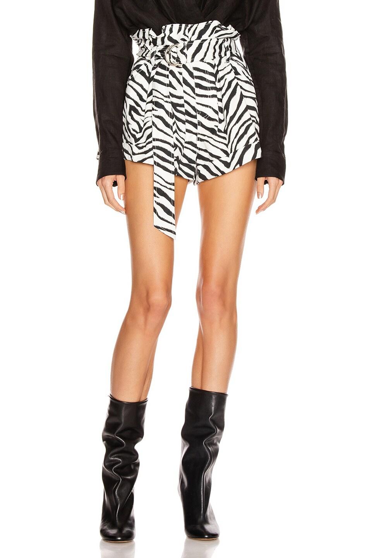 Image 1 of Marissa Webb Dixon Paper Bag Heavy Canvas Print Short in Black & White Zebra