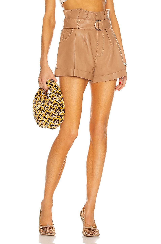 Image 1 of Marissa Webb Dixon Leather Paper Bag Short in Almond