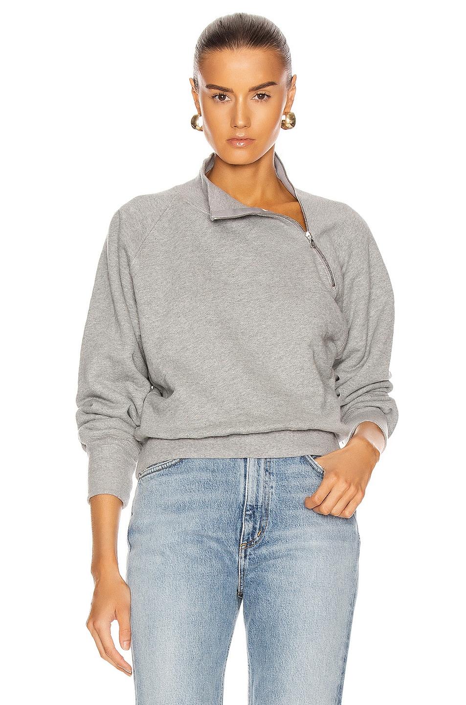 Image 1 of Marissa Webb So Uptight Funnel Neck Zip Sweatshirt in Heather Grey
