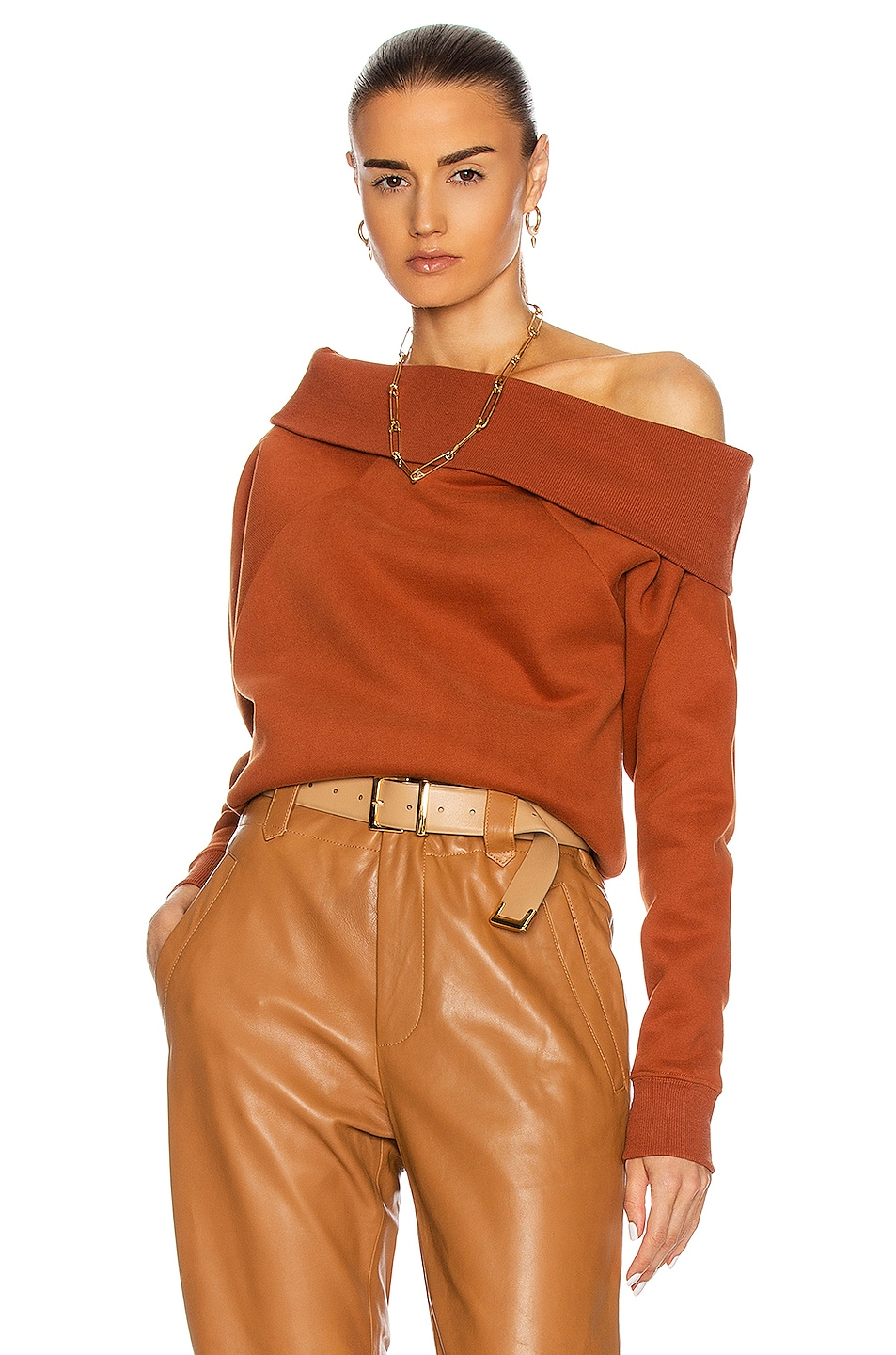 Image 1 of Marissa Webb So Relaxed Off The Shoulder Plush Sweatshirt in Rust