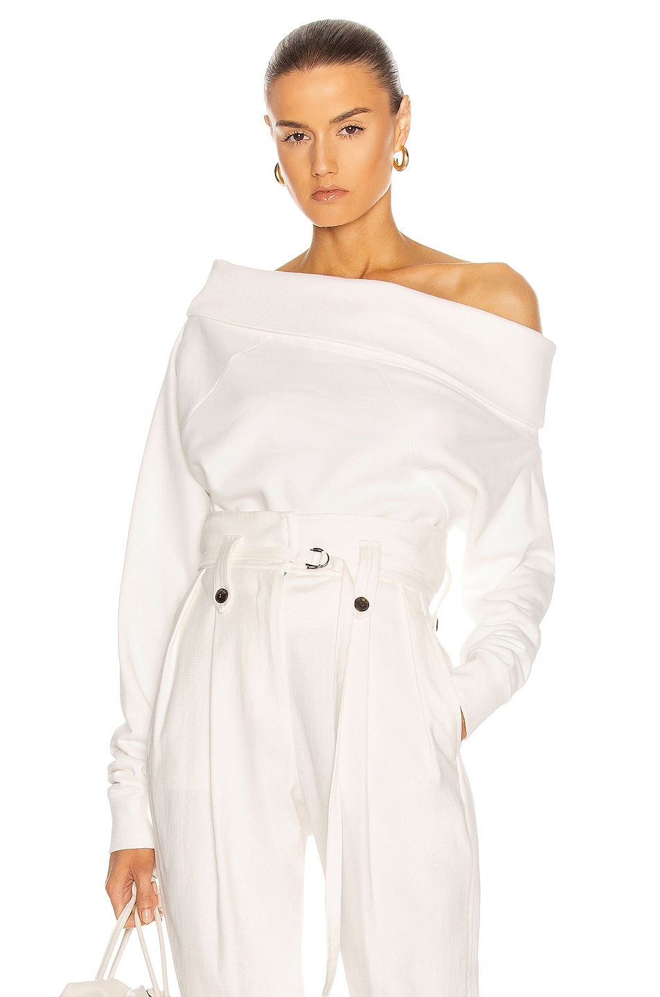 Image 1 of Marissa Webb So Relaxed Off The Shoulder Plush Sweatshirt in White