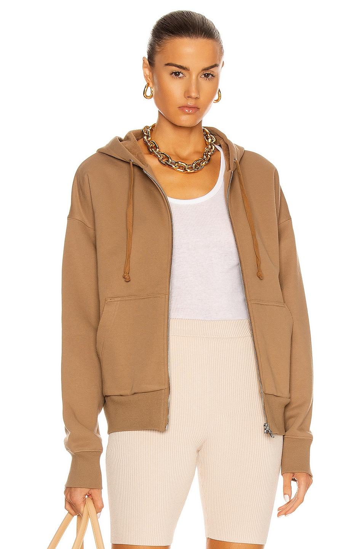 Image 1 of Marissa Webb Finley Drop Shoulder Zip Front Hoodie in Light Mocha