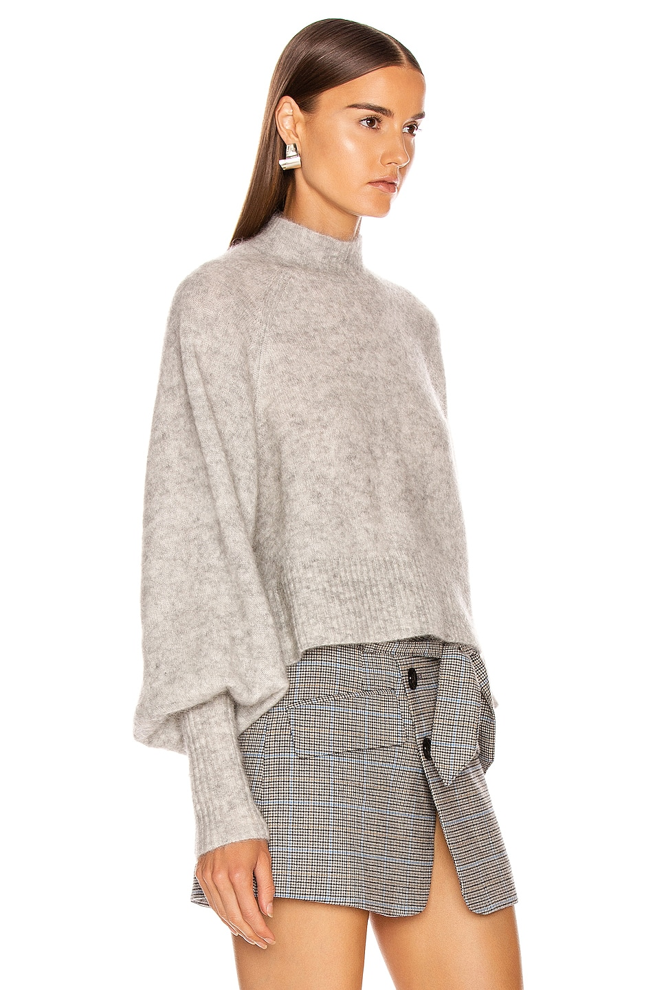 Image 2 of Marissa Webb Piper Mockneck Trapeze Sweater in Light Grey