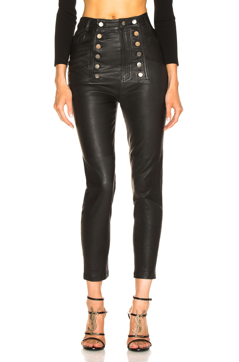Image 1 of Marissa Webb Alma Stretch Leather Pant in Black
