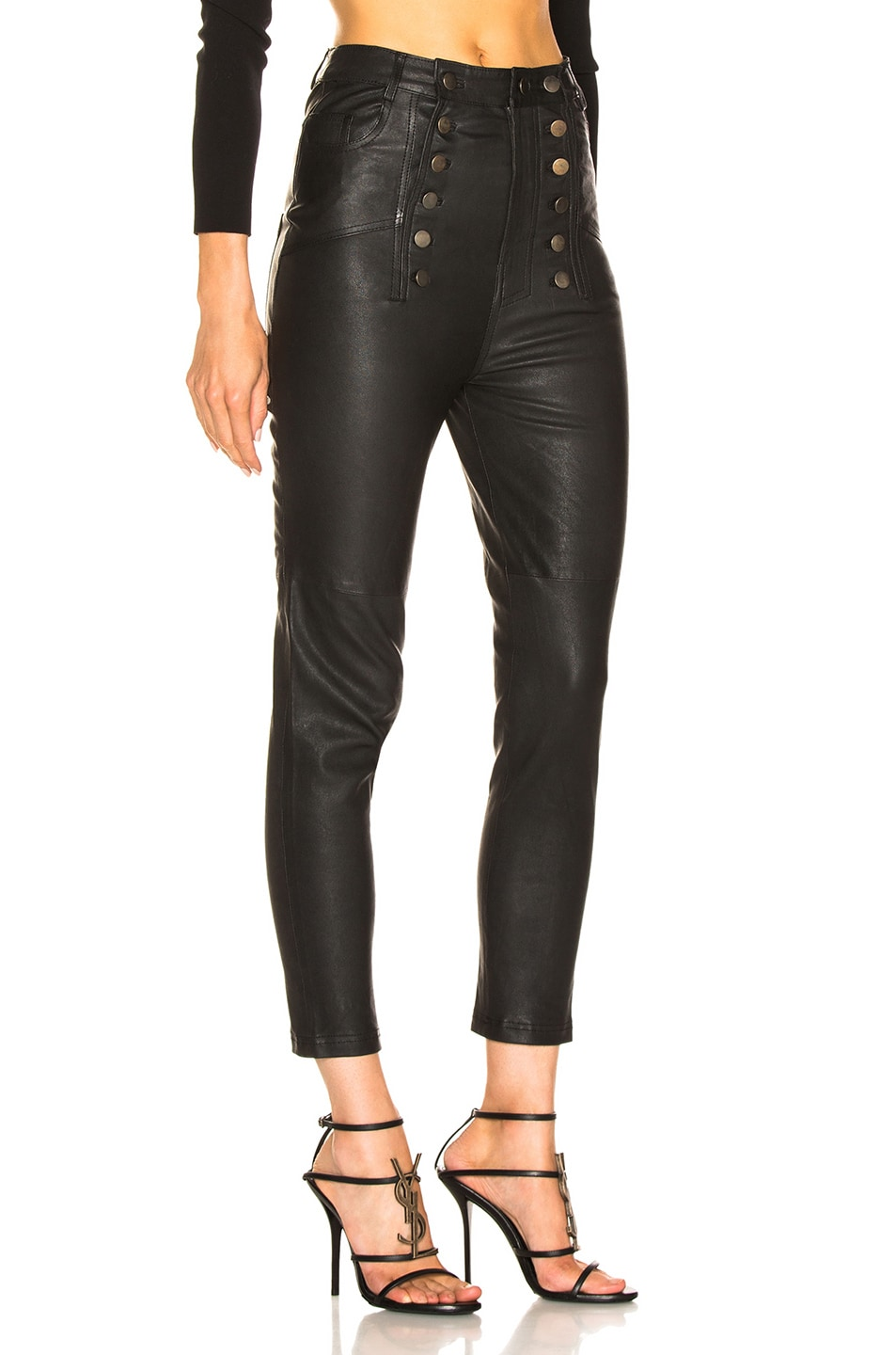 Image 2 of Marissa Webb Alma Stretch Leather Pant in Black