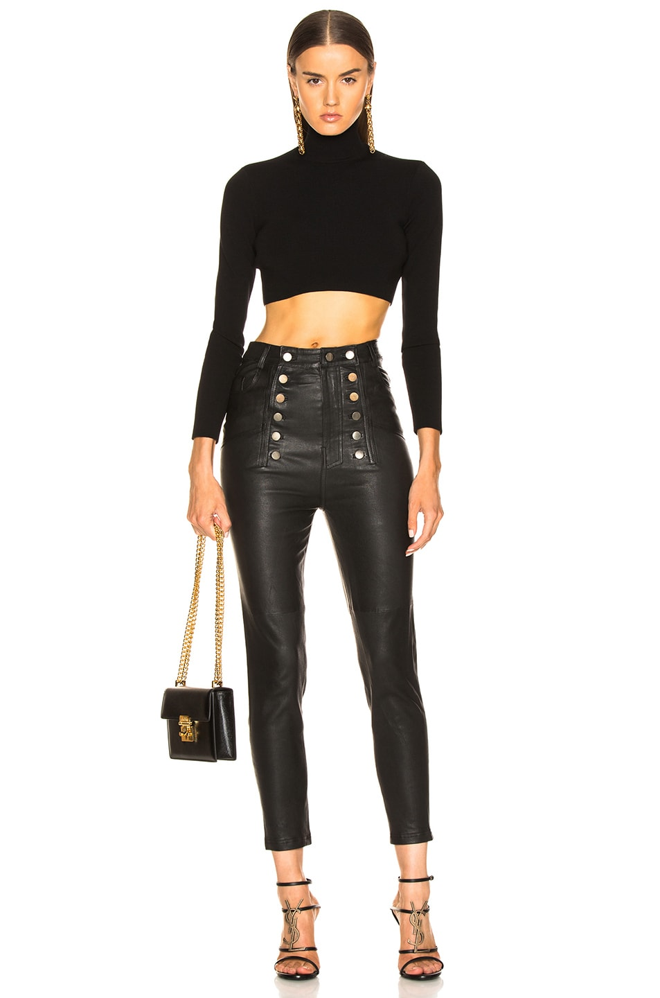 Image 4 of Marissa Webb Alma Stretch Leather Pant in Black