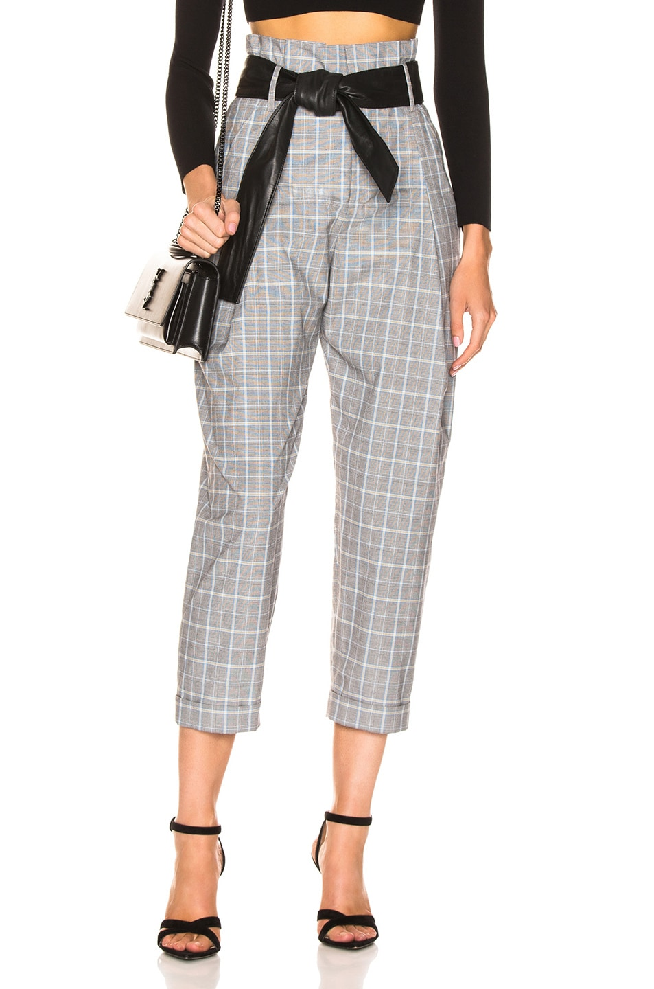 Image 1 of Marissa Webb Anders Pant with Leather Belt in Grey Multi Plaid