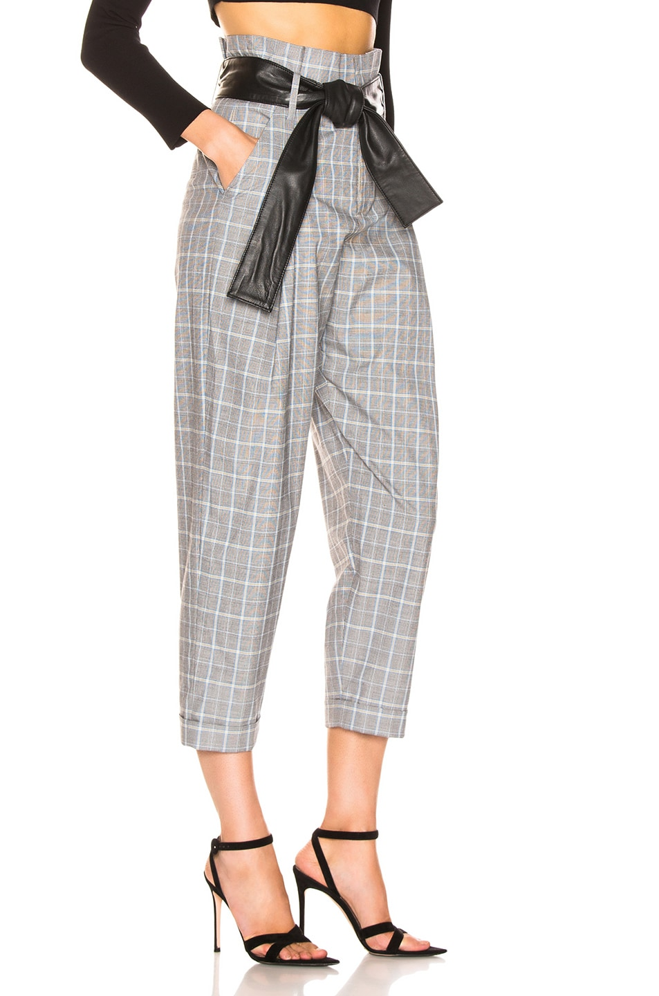 Image 2 of Marissa Webb Anders Pant with Leather Belt in Grey Multi Plaid