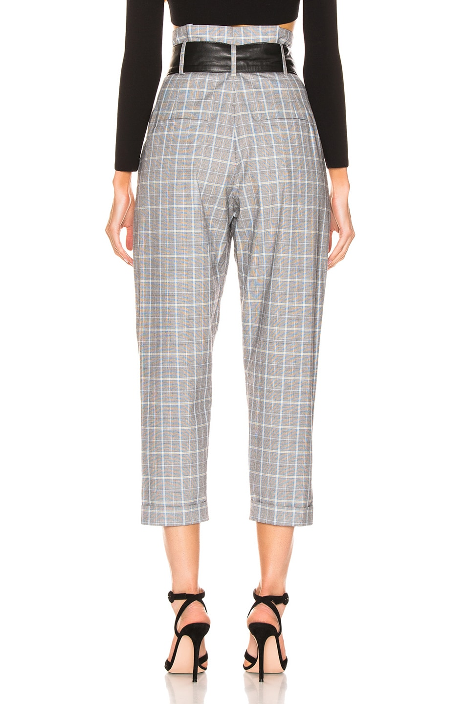 Image 3 of Marissa Webb Anders Pant with Leather Belt in Grey Multi Plaid