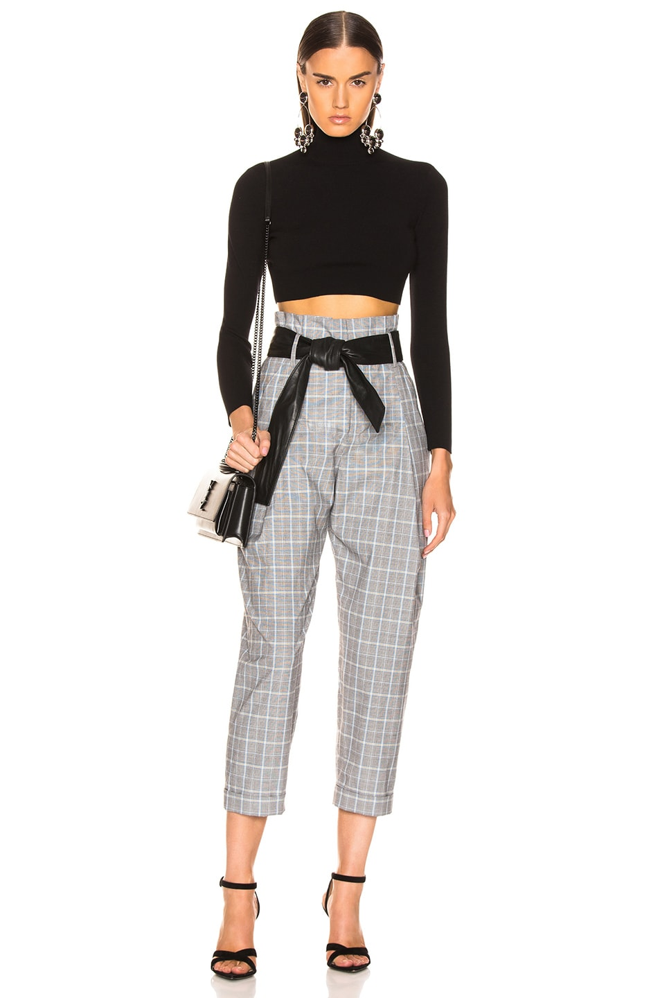 Image 4 of Marissa Webb Anders Pant with Leather Belt in Grey Multi Plaid
