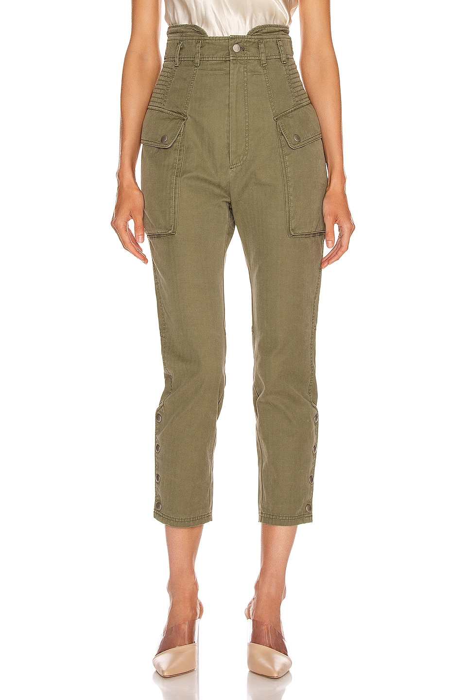 Image 1 of Marissa Webb Belle Herringbone Pant in Military Green