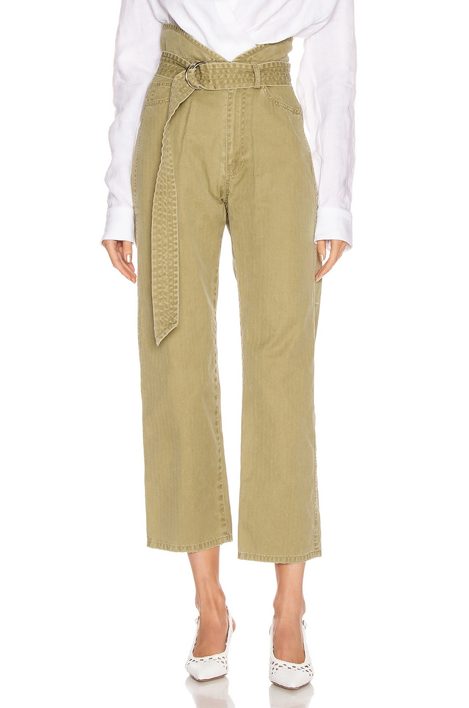 Image 1 of Marissa Webb Travis Heavy Canvas Pant in Khaki Green