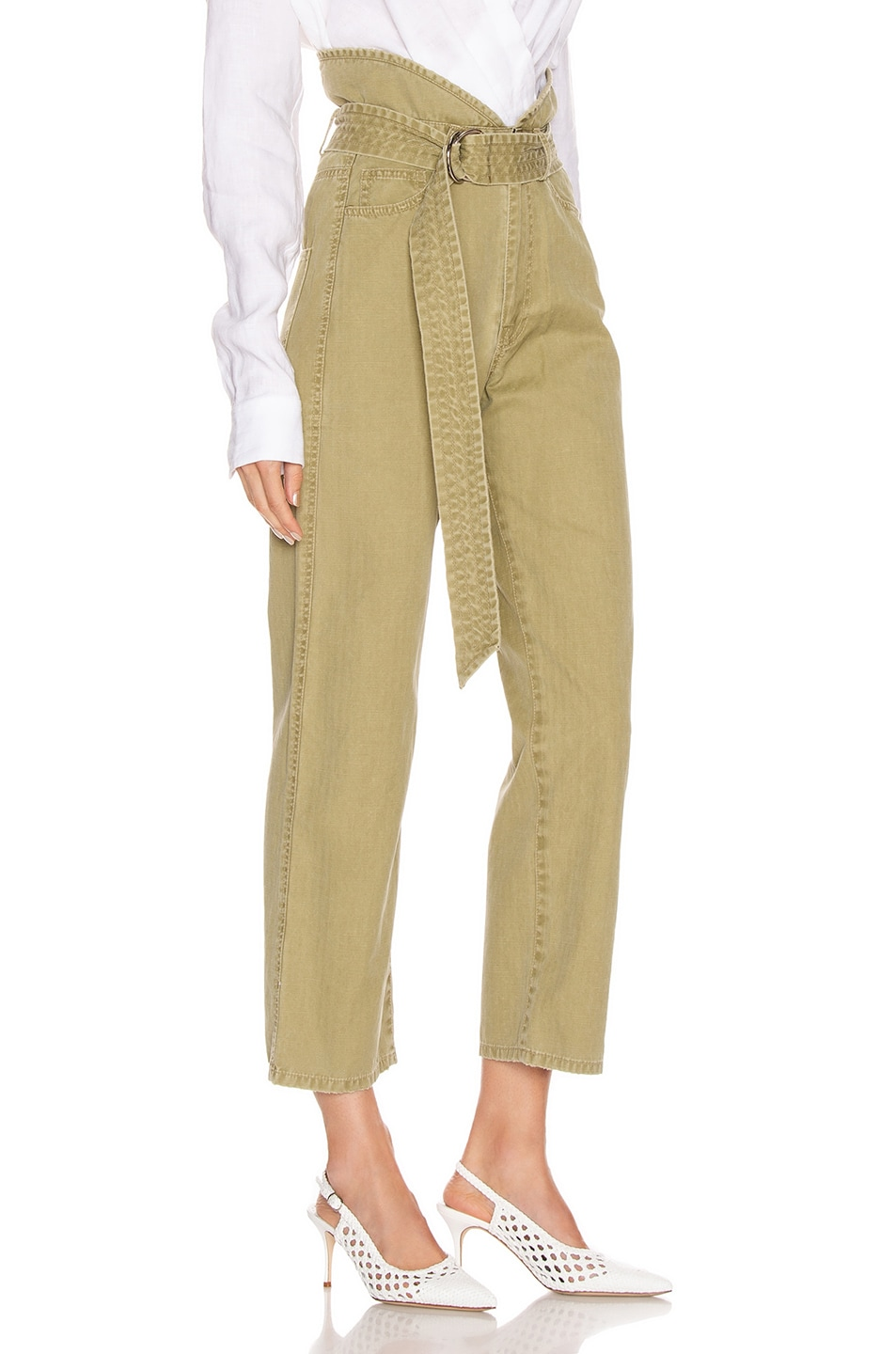 Image 2 of Marissa Webb Travis Heavy Canvas Pant in Khaki Green