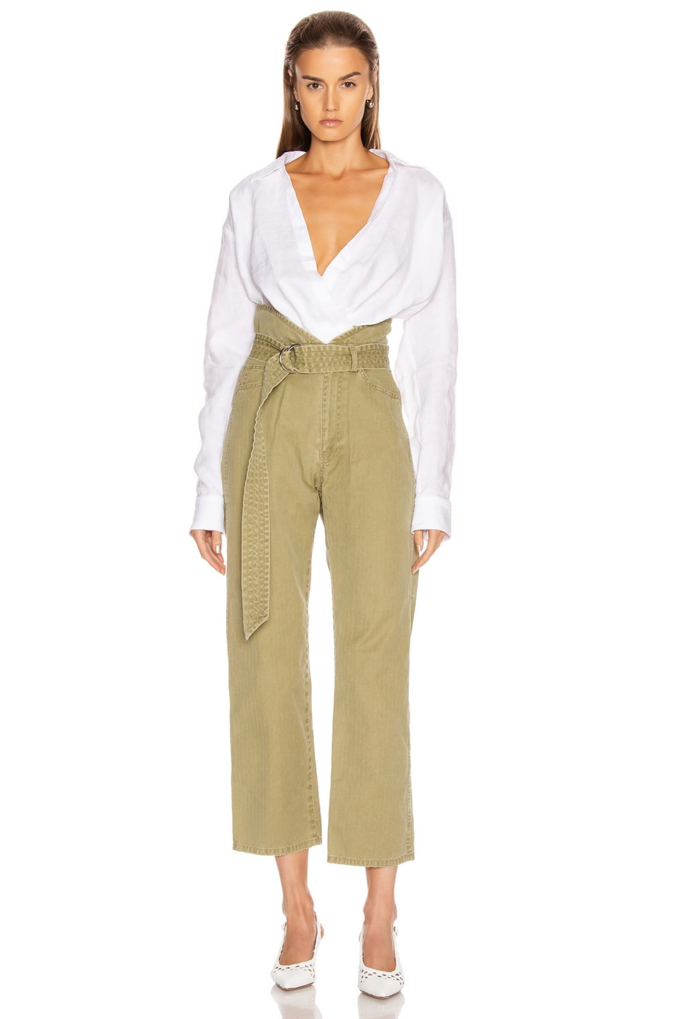 Image 4 of Marissa Webb Travis Heavy Canvas Pant in Khaki Green