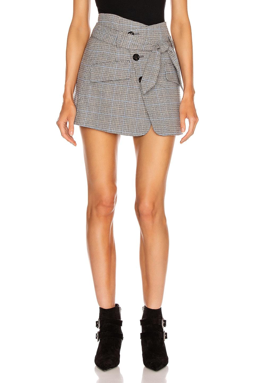 Image 1 of Marissa Webb Katrina Plaid Skirt in Light Grey Combo