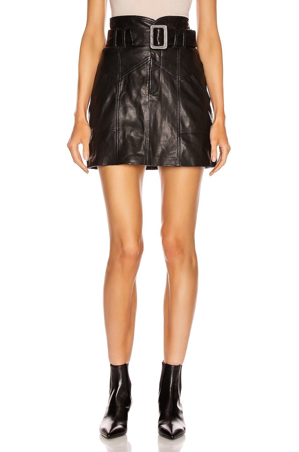 Image 1 of Marissa Webb Claire Leather Skirt in Black