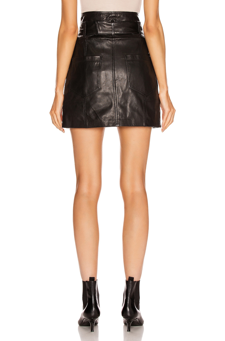 Image 3 of Marissa Webb Claire Leather Skirt in Black