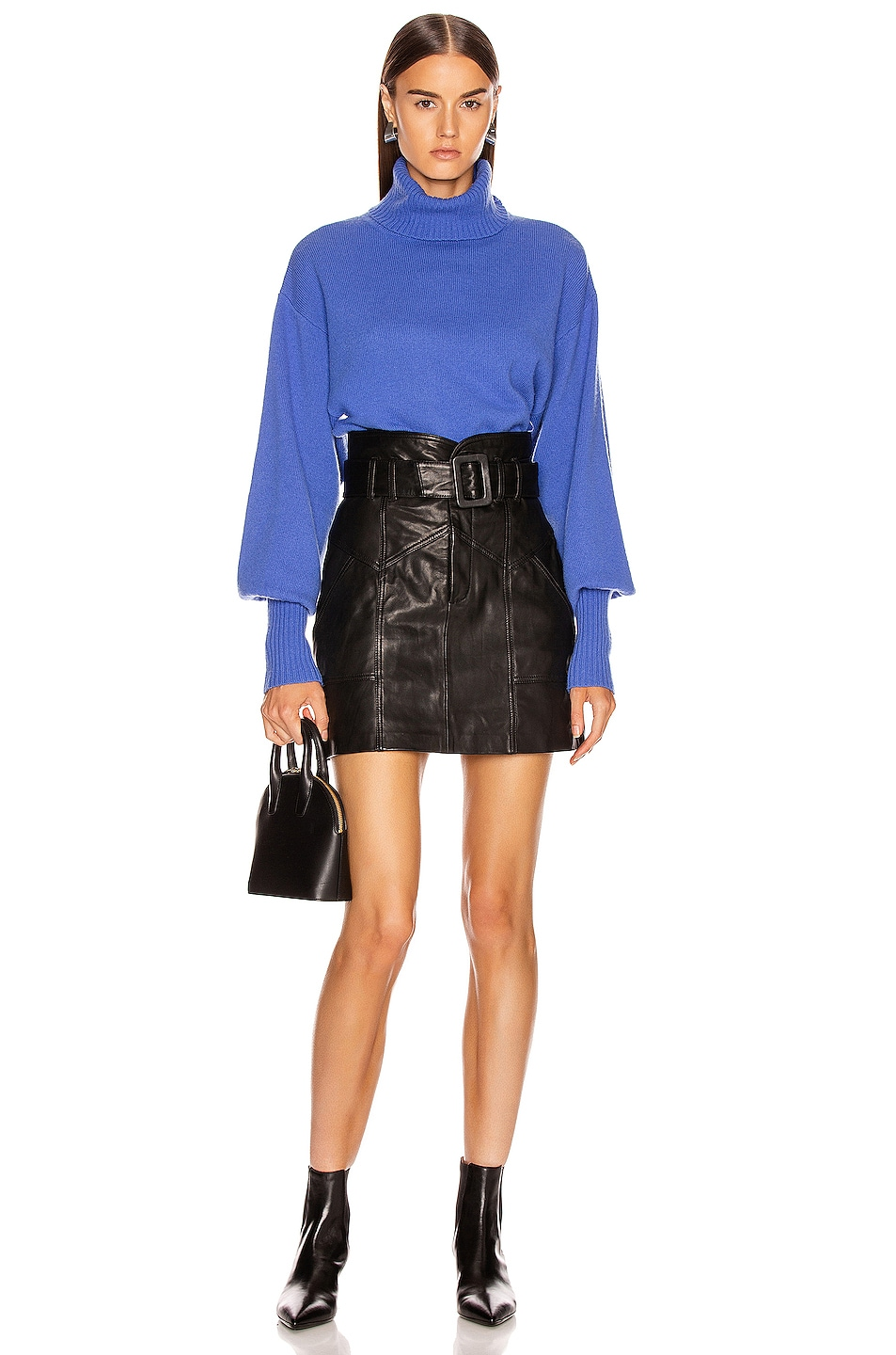 Image 4 of Marissa Webb Claire Leather Skirt in Black