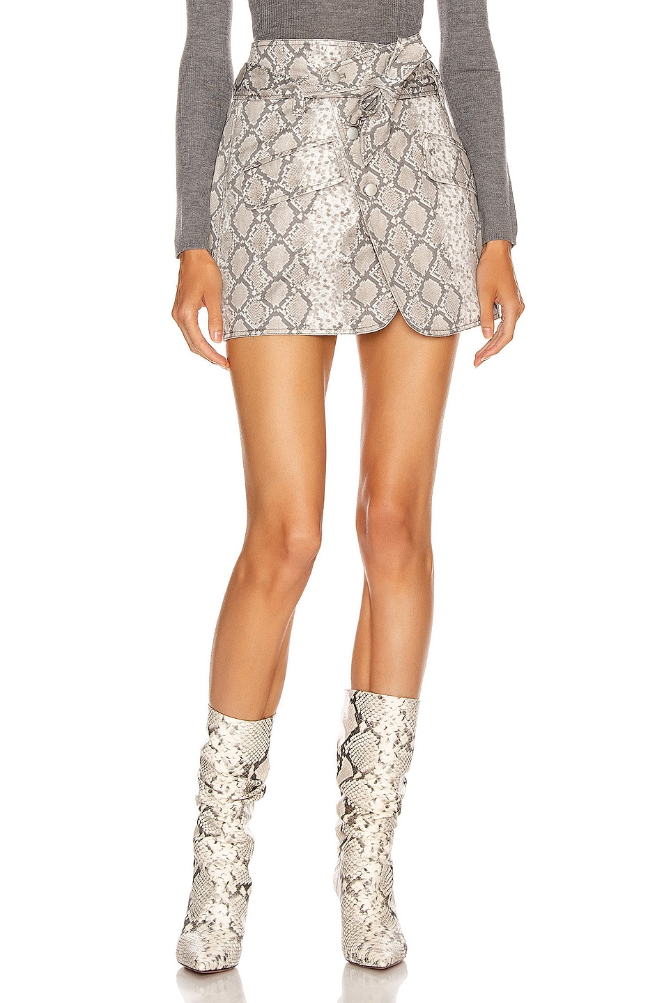 Image 1 of Marissa Webb Katrina Print Canvas Skirt in White Python