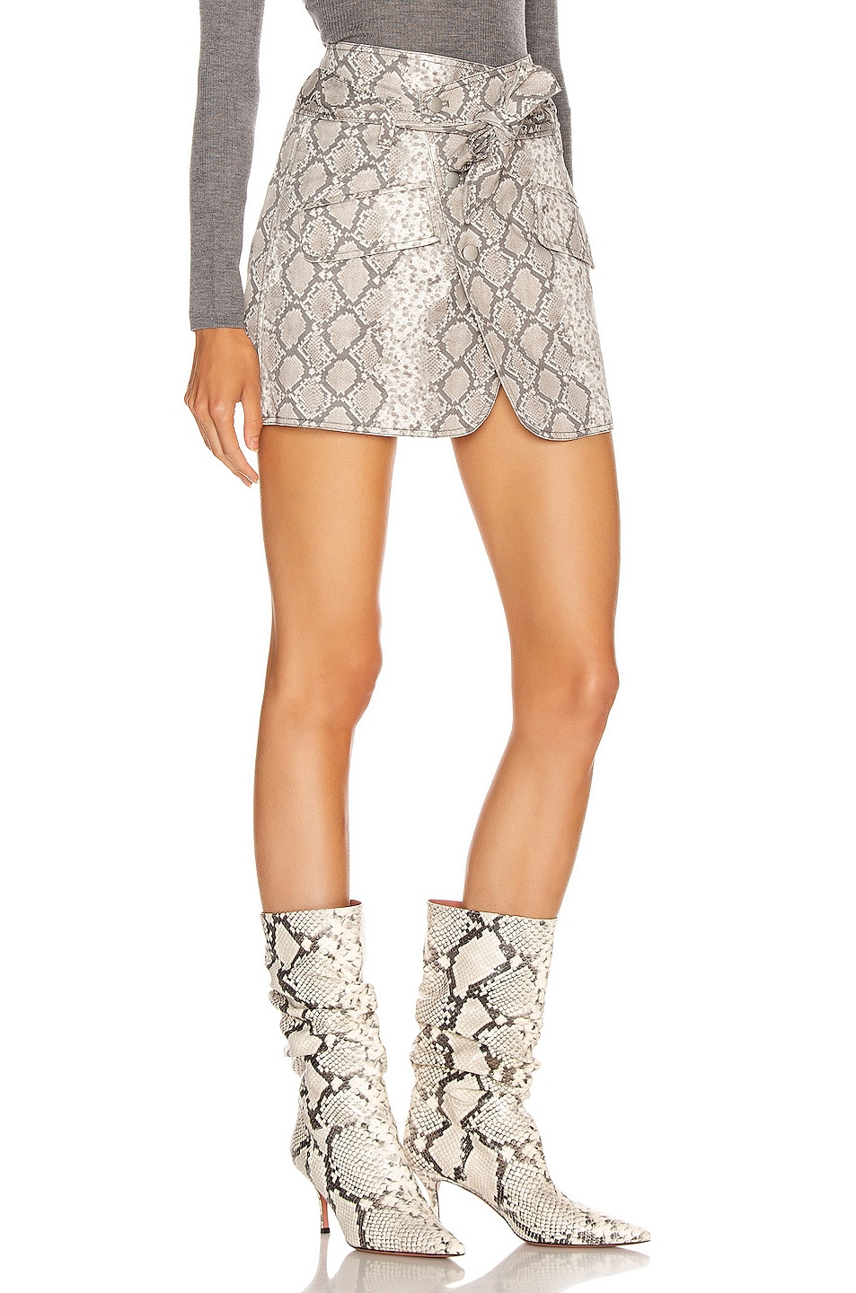 Image 2 of Marissa Webb Katrina Print Canvas Skirt in White Python