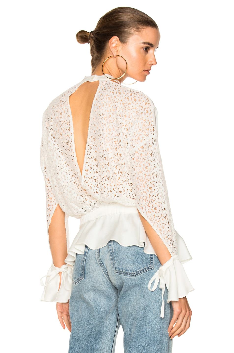 Image 1 of Marissa Webb Sullivan Lace Top in Lace White Combo