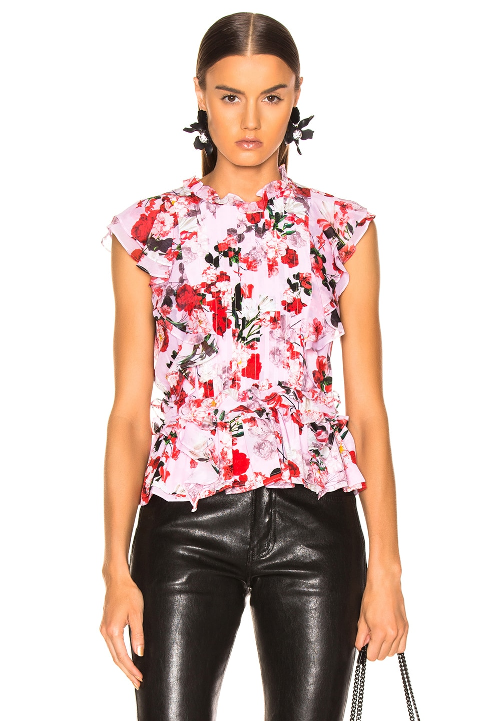 Image 1 of Marissa Webb Florence Silk Print Top in Rouge Bouquet