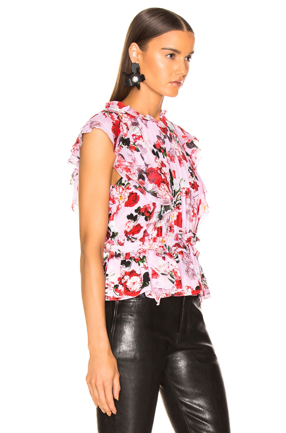 Image 2 of Marissa Webb Florence Silk Print Top in Rouge Bouquet