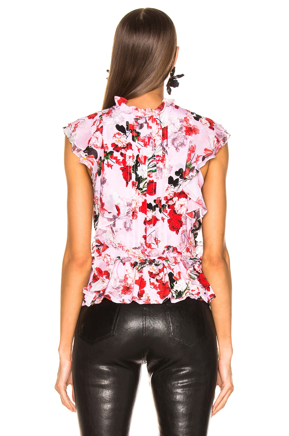 Image 3 of Marissa Webb Florence Silk Print Top in Rouge Bouquet