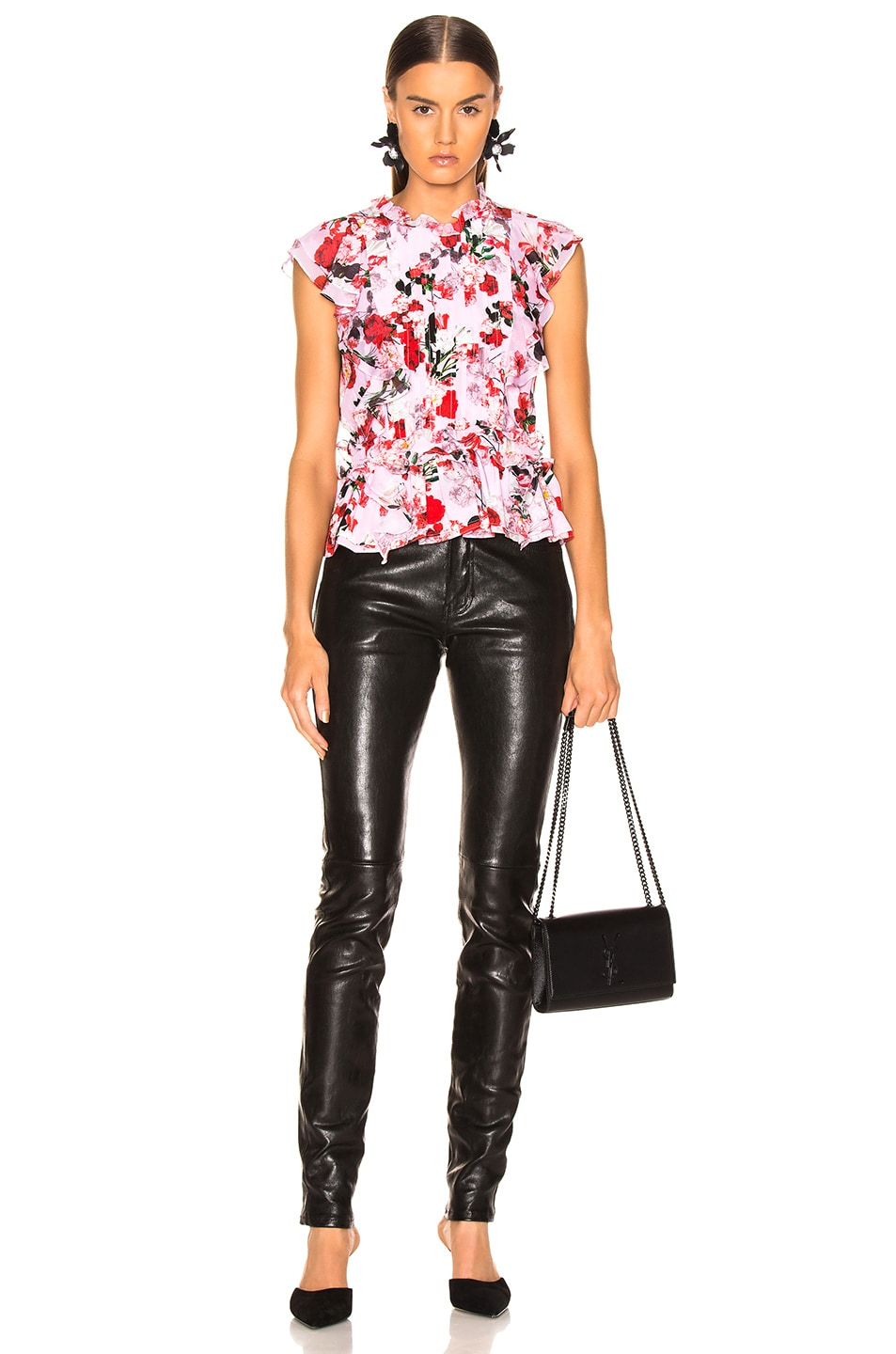 Image 4 of Marissa Webb Florence Silk Print Top in Rouge Bouquet