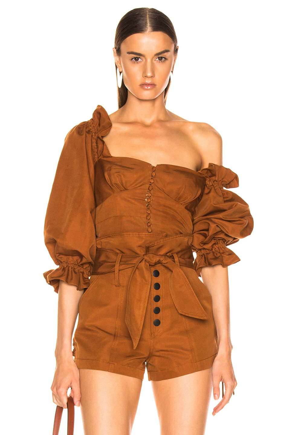 Image 1 of Marissa Webb Kai Faille Top in Copper Brown