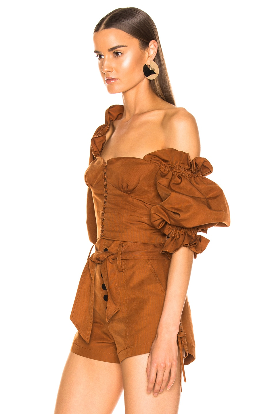 Image 3 of Marissa Webb Kai Faille Top in Copper Brown