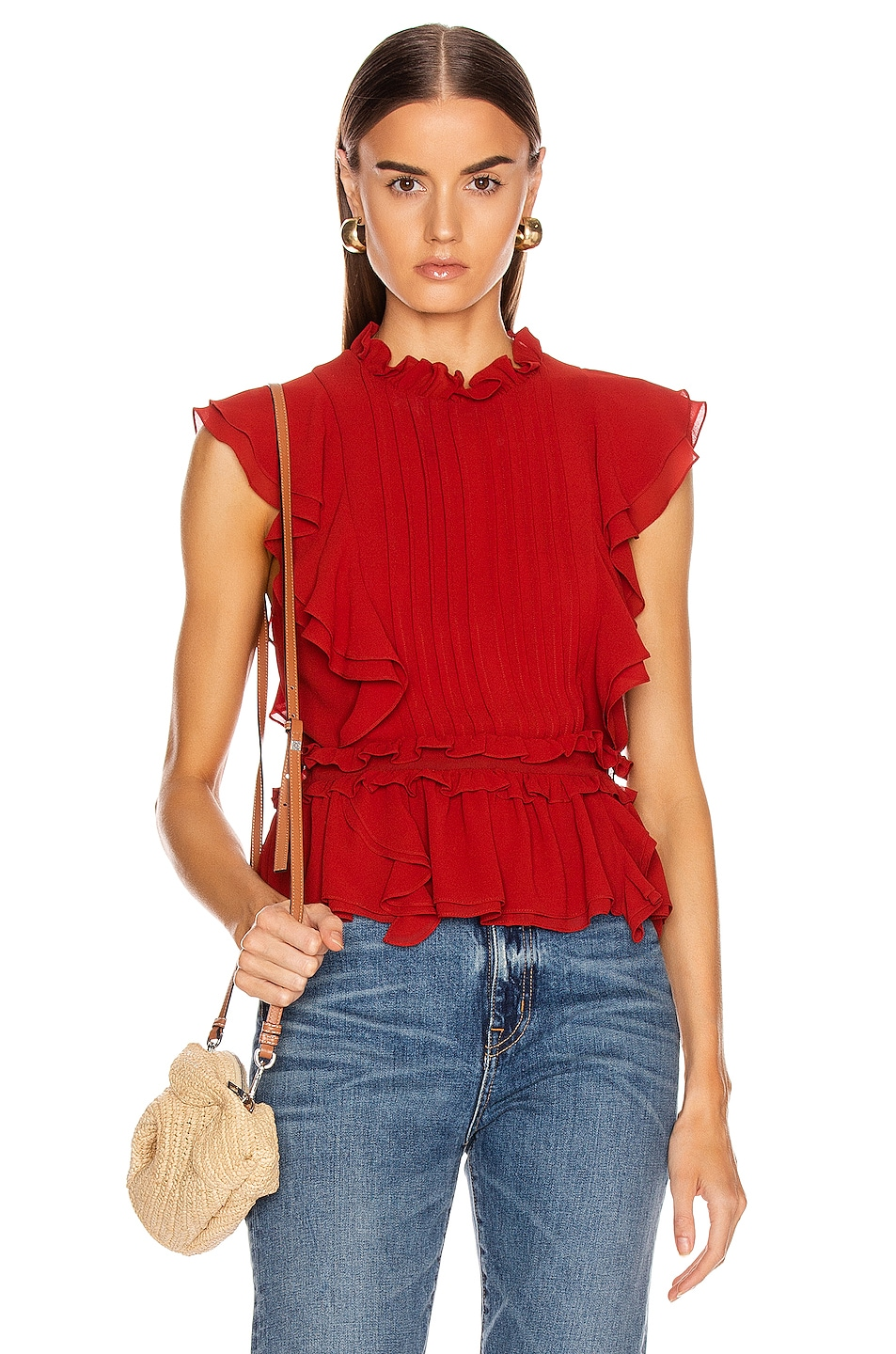 Image 1 of Marissa Webb Florence Crepe Top in Terracotta
