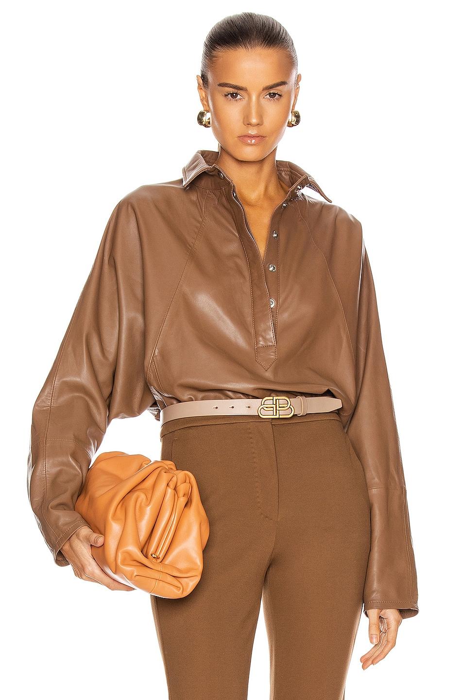 Image 1 of Marissa Webb Madi Leather Tunic Top in Cognac