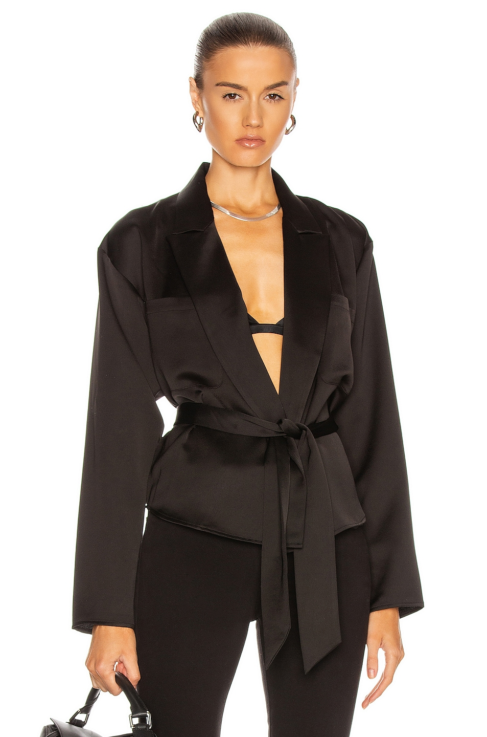 Image 1 of Marissa Webb Riley Satin Crepe Wrap Blouse in Black