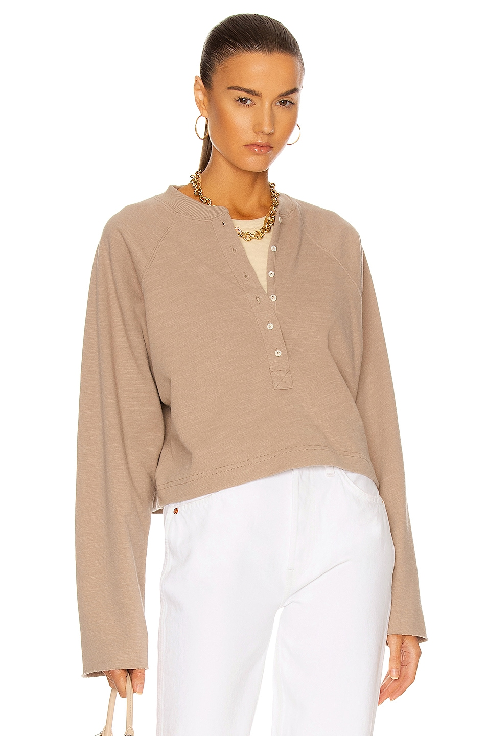 Image 1 of Marissa Webb So Uptight Lightweight Plunge Henley Top in Stone Taupe