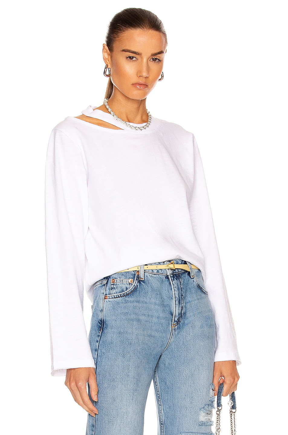 Image 1 of Marissa Webb Tate Cut Out Long Sleeve Top in White