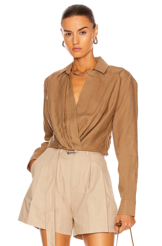 Image 1 of Marissa Webb Maxwell Linen Shirt in Sandalwood