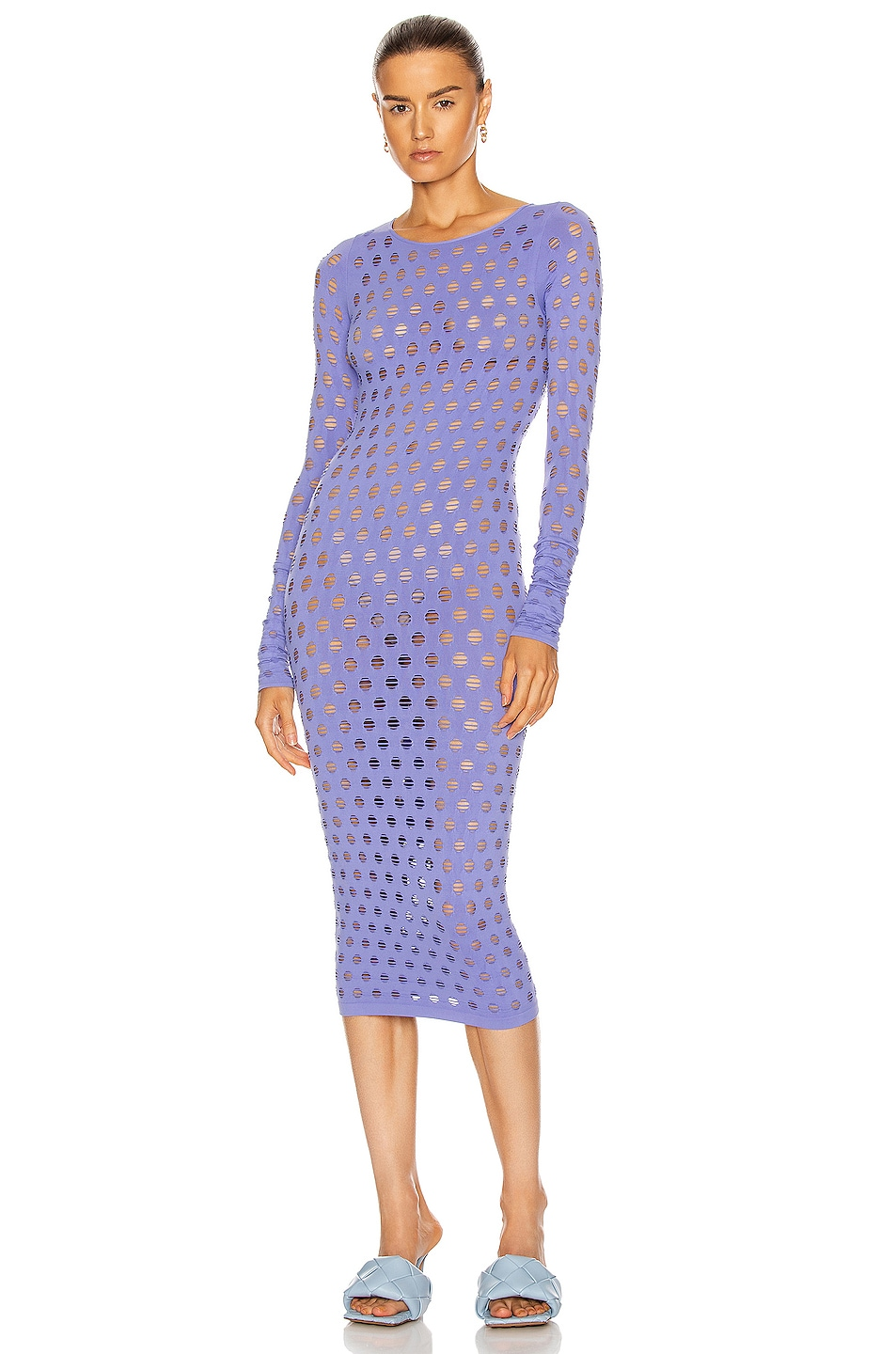 Image 1 of Maisie Wilen Perforated Midi Dress in Ube