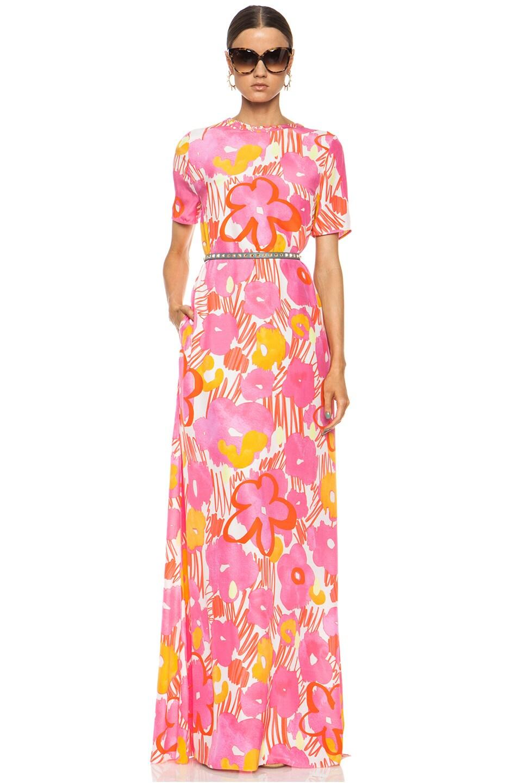 Image 1 of Matthew Williamson Graffiti Daisy Oversized T-Shirt Silk Gown in Fuchsia