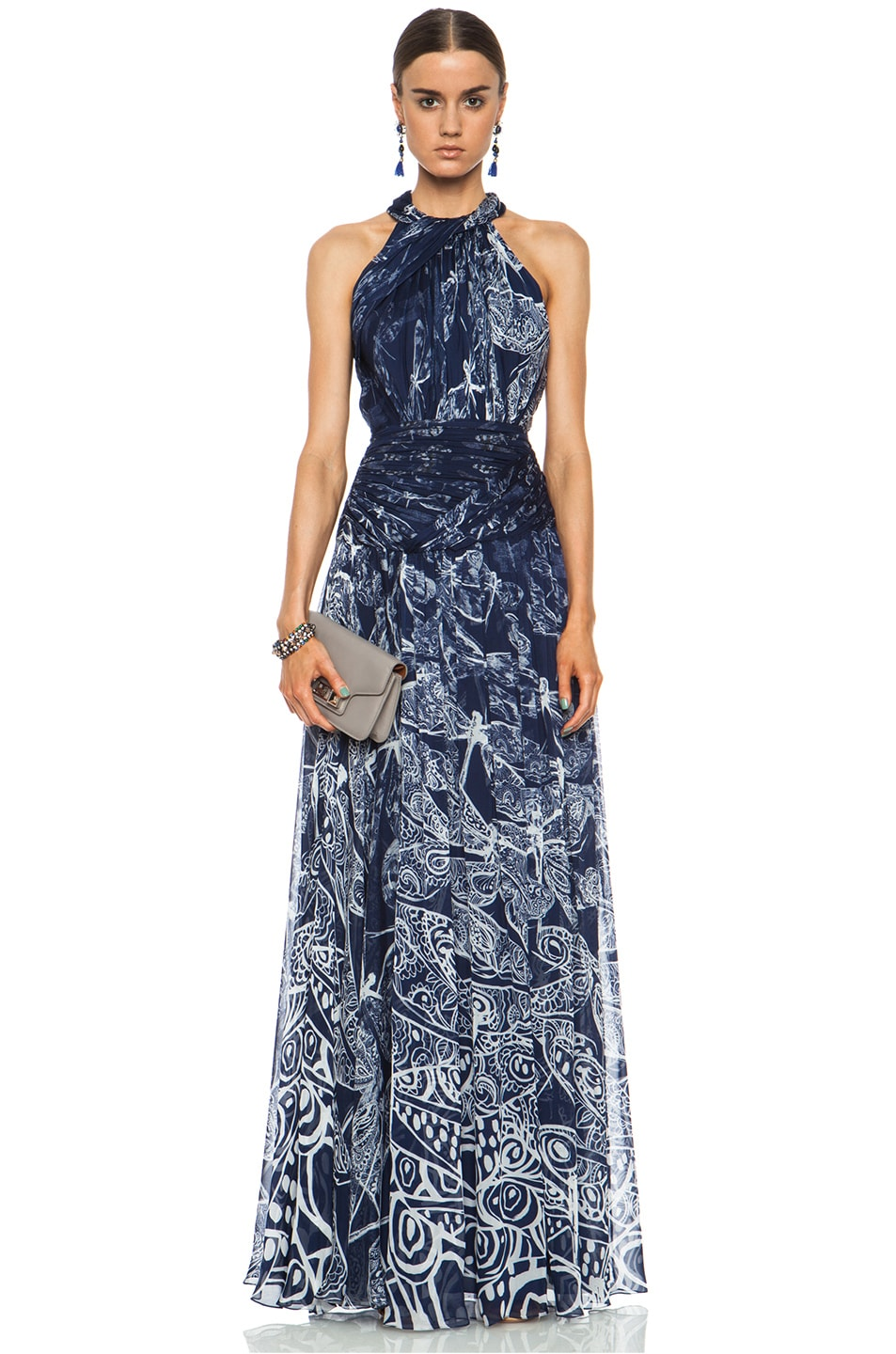 Image 1 of Matthew Williamson Twisted Collar Dragonfly Silk Gown in Navy