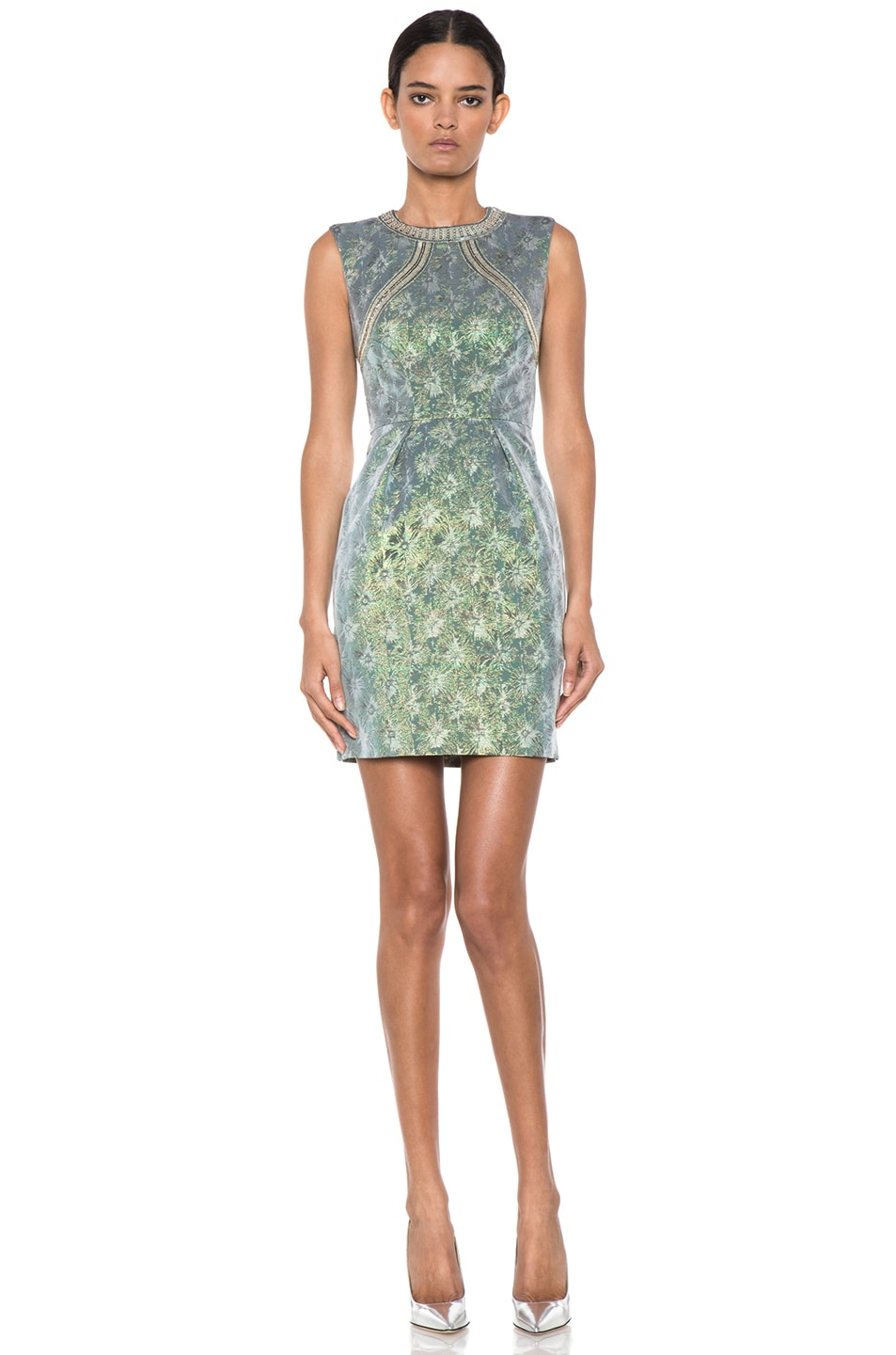 Image 1 of Matthew Williamson Iridescent Floral Shift Dress in Green