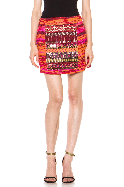 Image 1 of Matthew Williamson Taj Tapestry Mini Skirt in Ruby