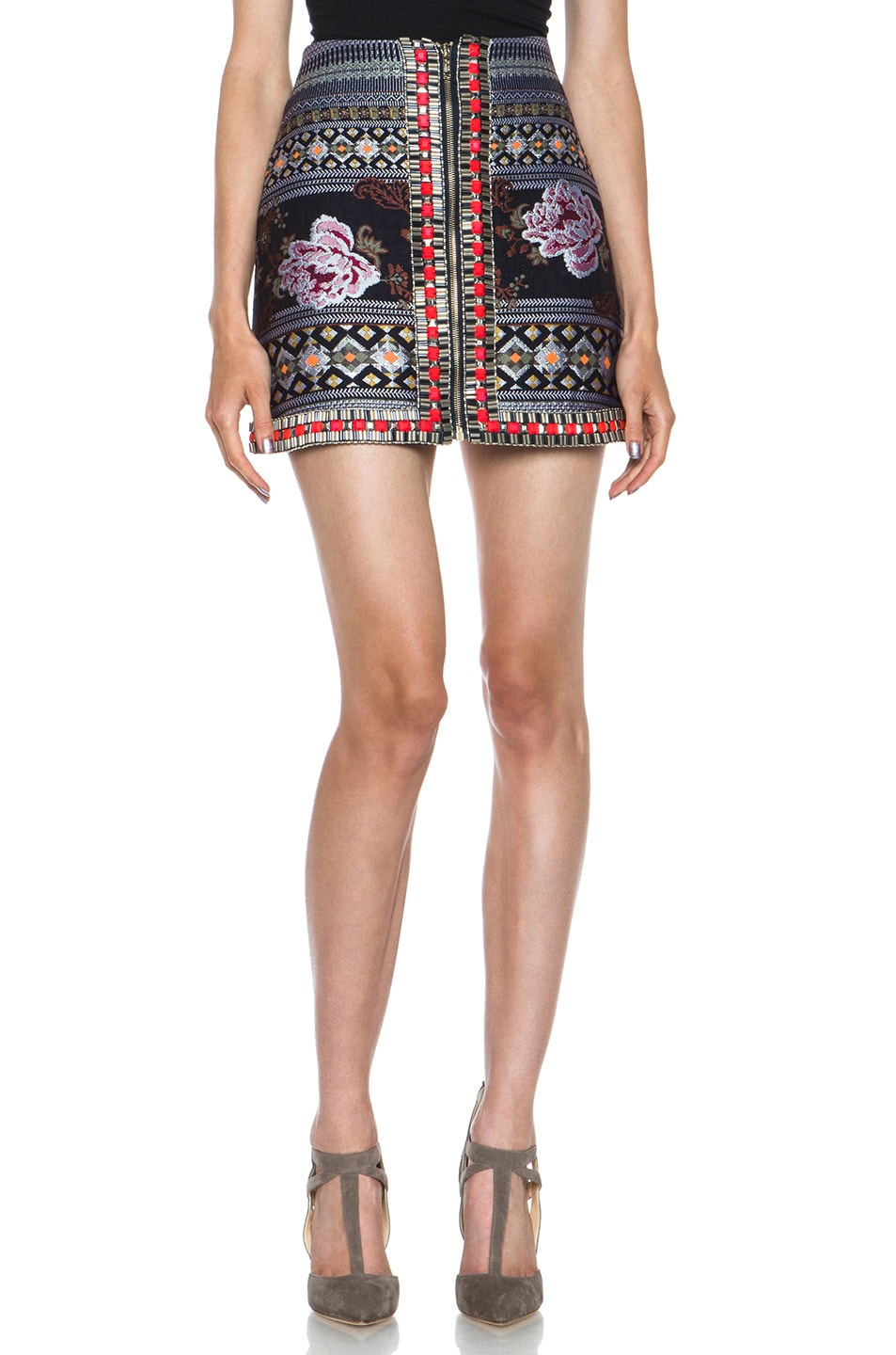 Image 1 of Matthew Williamson Floral Folk Weave Embroidered Wool-Blend Panelled Skirt in Navy