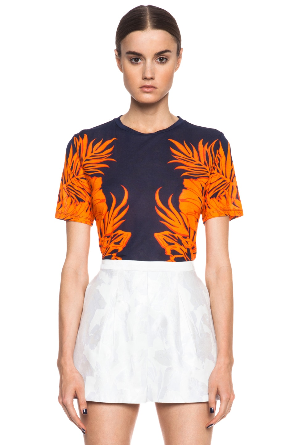 Image 1 of Matthew Williamson Leaf Print Viscose Tee in Navy