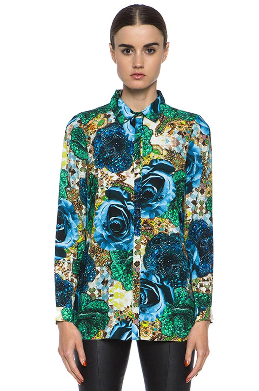 Image 1 of Matthew Williamson Precious Rose Silk Blouse in Blue