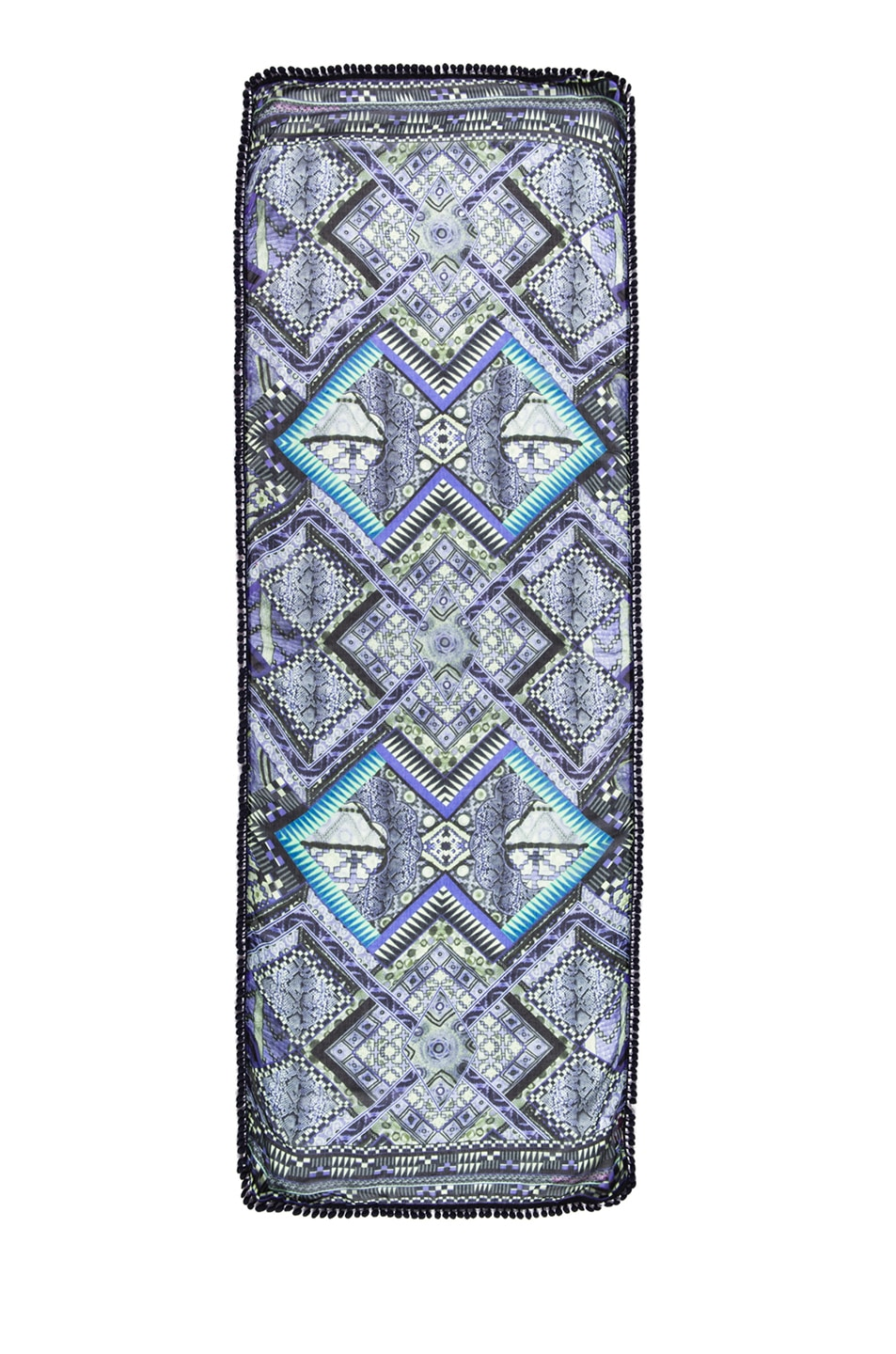 Image 1 of Matthew Williamson Raj Patchwork Pom Pom Scarf in Blue