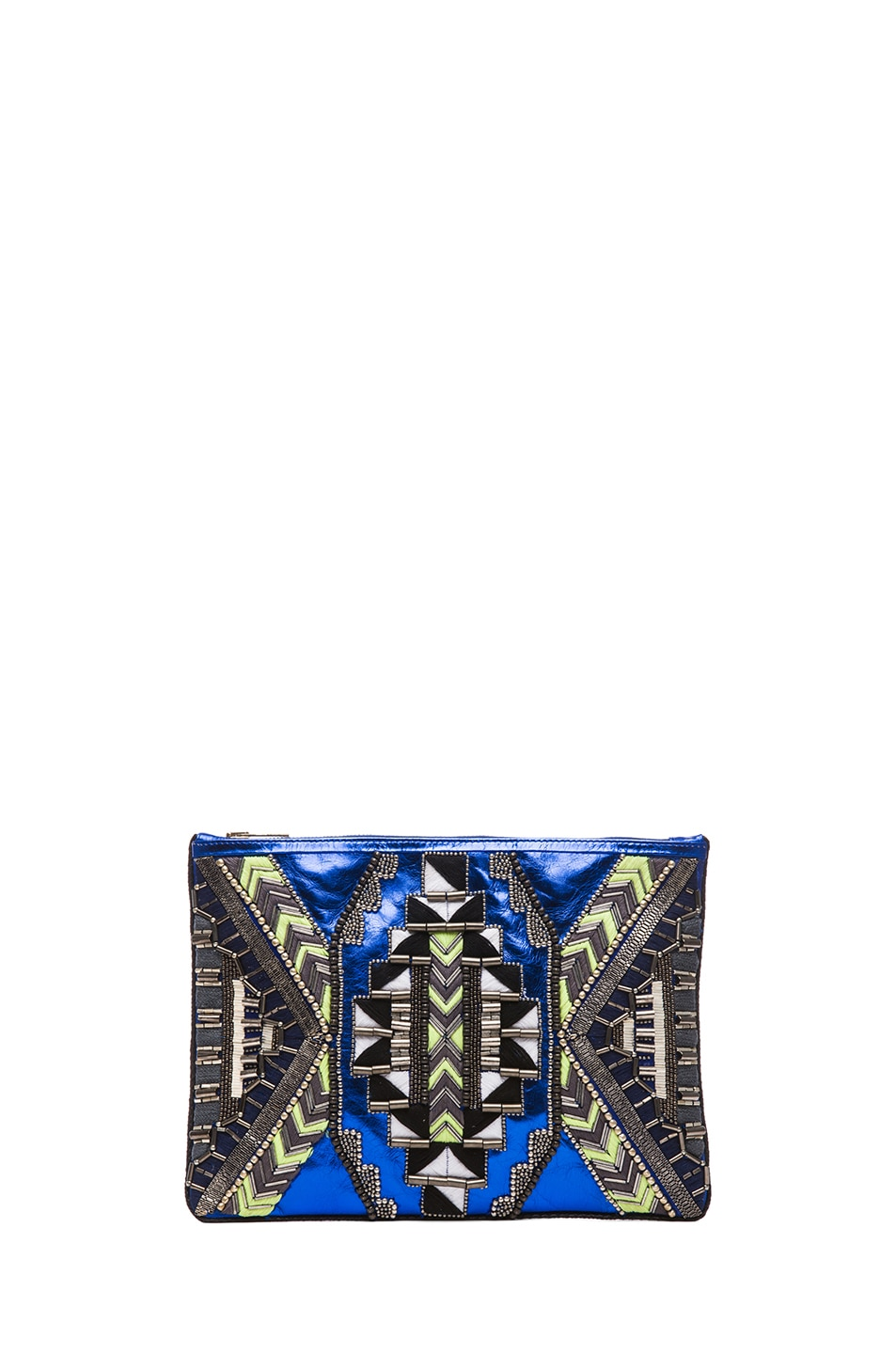 Image 1 of Matthew Williamson Threadwork Leather Clutch in Blue