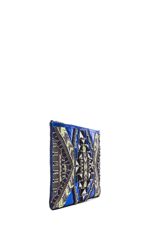 Image 3 of Matthew Williamson Threadwork Leather Clutch in Blue