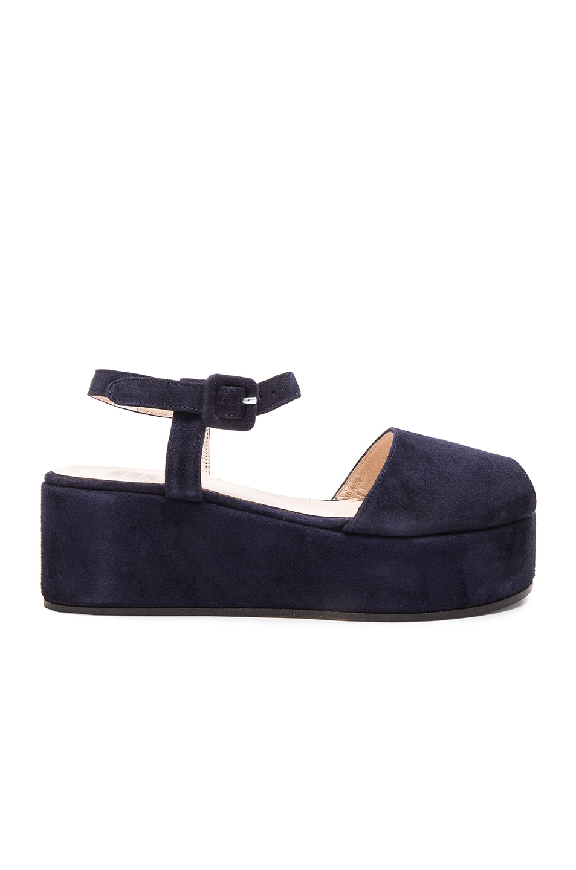 Image 1 of Maryam Nassir Zadeh Tine Platform Sandal in Navy Suede